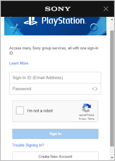 PlayStation Log In Page