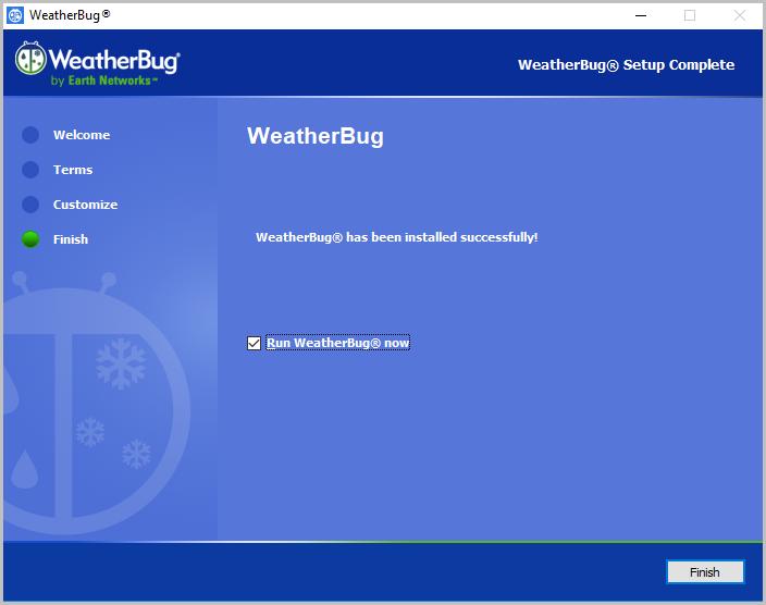 Run Weatherbug now
